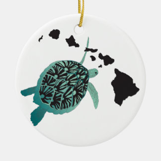 Hawaii green Sea Turtle and Hawaii Islands Double-Sided Ceramic Round Christmas Ornament