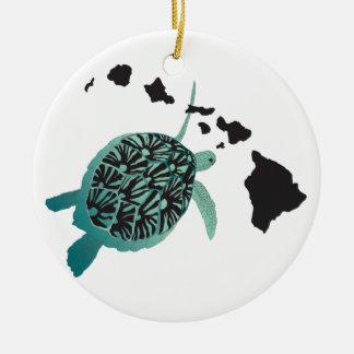 Hawaii green Sea Turtle and Hawaii Islands Christmas Tree Ornaments