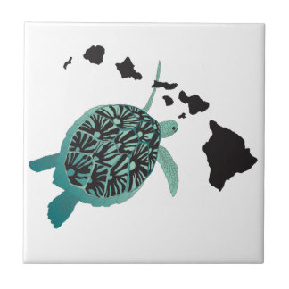 Hawaii green Sea Turtle and Hawaii Islands Tile