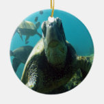Hawaii Green Sea Turtle Double-Sided Ceramic Round Christmas Ornament