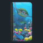 "Hawaii Green Sea Turtle Reef Tropical Galaxy S5 Wallet Phone Case For Samsung Galaxy S5<br><div class=""desc"">About &quot;Secret Sanctuary&quot; a painting by Karen Whitworth: This painting was inspired by my first snorkeling experience. My husband and I could not believe the amount of life and explosive color that existed below the waves off the Maui coast. What beauty! To top it all off we were joined by...</div>"