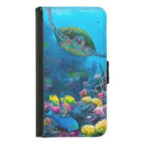 Hawaii Green Sea Turtle Reef Tropical Galaxy S5 Wallet Phone Case For Samsung Galaxy S5