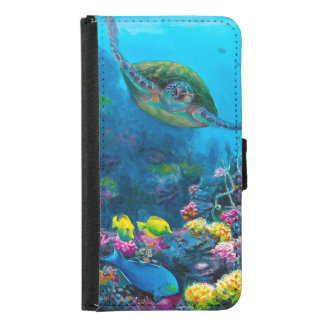 Hawaii Green Sea Turtle Reef Tropical Galaxy S5 Wallet Phone Case For Samsung Galaxy S5