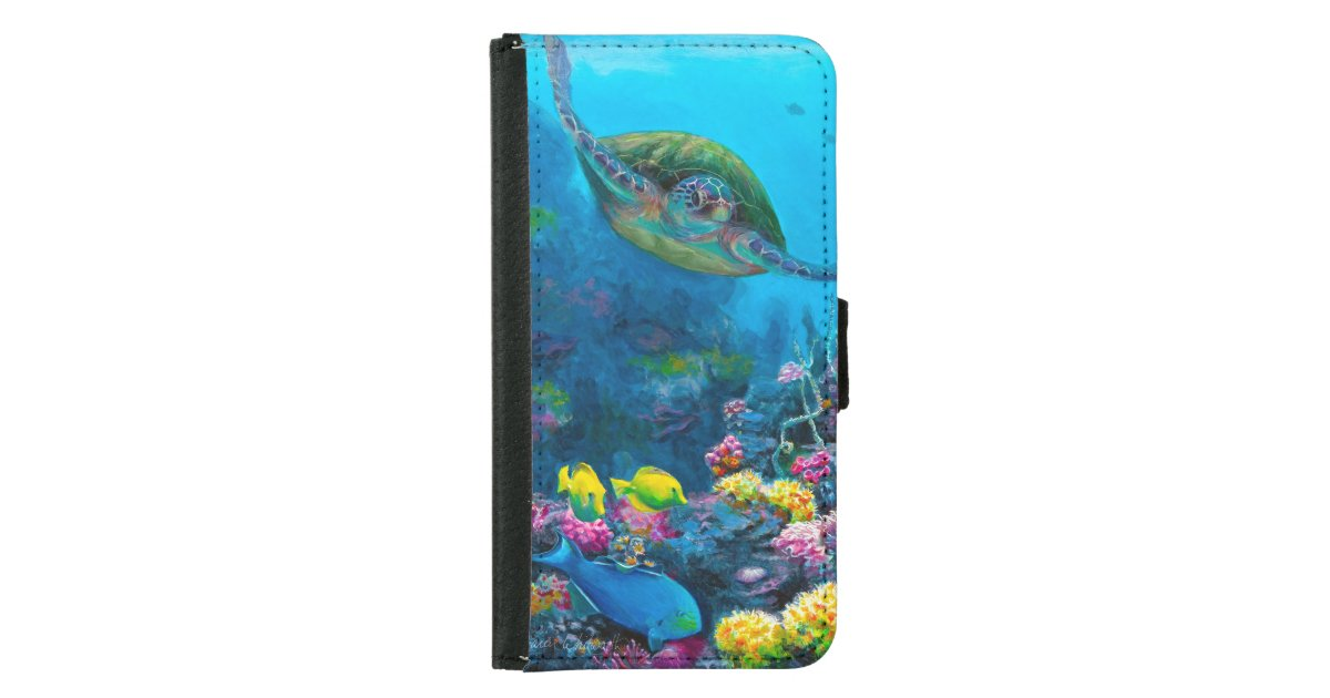 Hawaii Green Sea Turtle Reef Tropical Galaxy S5 Wallet