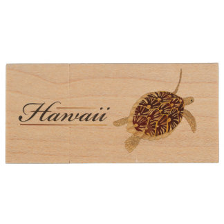 Hawaii Green Sea Turtle Wood USB Flash Drive