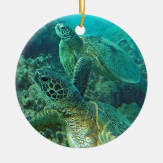 Hawaii Green Sea Turtles Ceramic Ornament