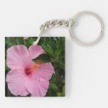 Hawaii Hanauma Bay Hibiscus Flowers Square Acrylic Keychains