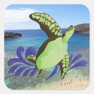 Hawaii Hanauma Bay Oahu Turtle Square Sticker
