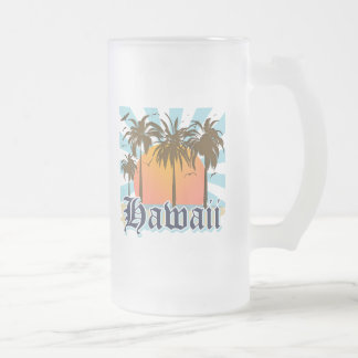 Hawaii Hawaiian Islands Sourvenir 16 Oz Frosted Glass Beer Mug