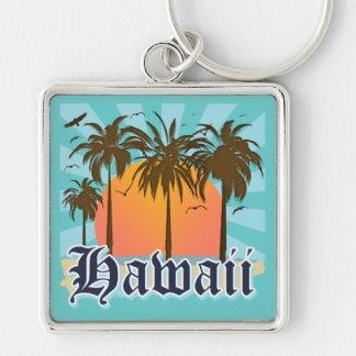 Hawaii Hawaiian Islands Sourvenir Silver-Colored Square Keychain