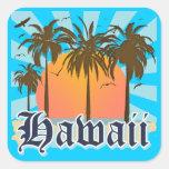 Hawaii Hawaiian Islands Sourvenir Square Stickers