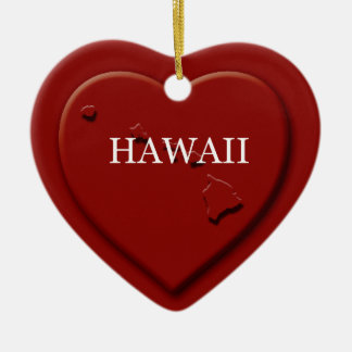 Hawaii Heart Map Christmas Ornament