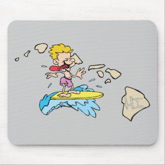 Hawaii HI Map & Hawaiian Surfer Cartoon Motto Mouse Pad