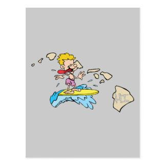 Hawaii HI Map & Hawaiian Surfer Cartoon Motto Postcards