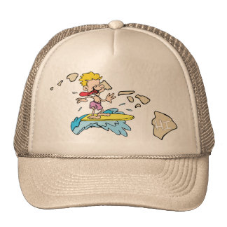 Hawaii HI Map & Hawaiian Surfer Cartoon Motto Trucker Hat