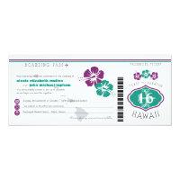 Hawaii Hibiscus Boarding Pass Wedding Card (<em>$2.57</em>)