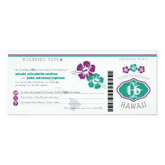 Hawaii Hibiscus Boarding Pass Wedding Card