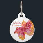 "Hawaii Hibiscus Flower Personalized Large Pet Tag<br><div class=""desc"">NewparkLane - Elegant colorful Large Pet Tag, with an exotic Hawaiian Hibiscus flower in red, pink and orange. Texts on both sides (dog&#39;s name &amp; owners name and phone number), in elegant typography, are easy to customize in Zazzle with your own text for a personalized design. All text style, colors,...</div>"