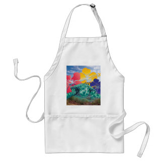 Hawaii Hibiscus Flowers and Turtle Adult Apron