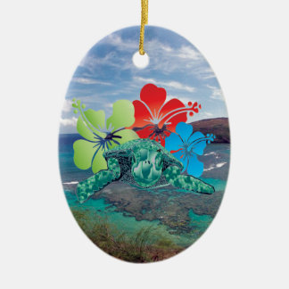 Hawaii Hibiscus Flowers and Turtle Christmas Ornaments