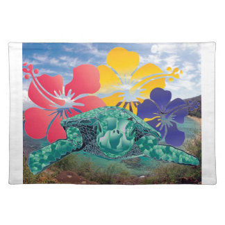Hawaii Hibiscus Flowers and Turtle Placemat