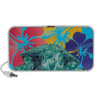 Hawaii Hibiscus Flowers and Turtle iPod Speakers