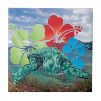 Hawaii Hibiscus Flowers and Turtle Tile