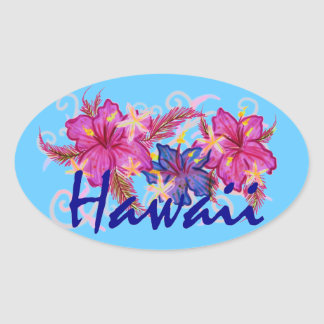 Hawaii hibiscus flowers blue stickers