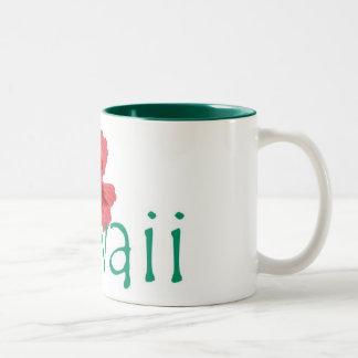 Hawaii hibiscus pink teal coffee mug