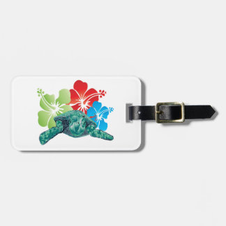 Hawaii Hibiscus Turtle Tag For Luggage