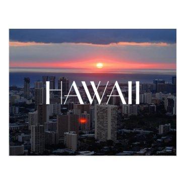Hawaiian Themed Hawaii Honolulu Waikiki skyline sunset photograph Postcard