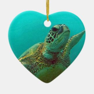 Hawaii Honu Adorno Navideño De Cerámica En Forma De Corazón