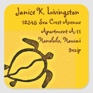 Hawaii Honu Return Address Gold and Brown Square Sticker
