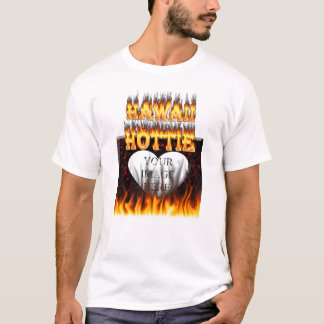 Hawaii Hottie fire and red marble heart. T-Shirt