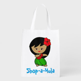 Hawaii Hula dancer reusable grocery bag