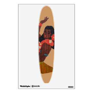 Hawaii Hula Dancer Surfboard Wall Sticker