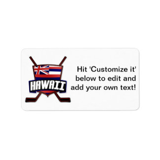 Hawaii Ice Hockey Flag Logo Address Label