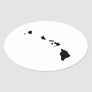 Hawaii in Black and White Oval Sticker