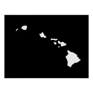 Hawaii in White and Black Poster