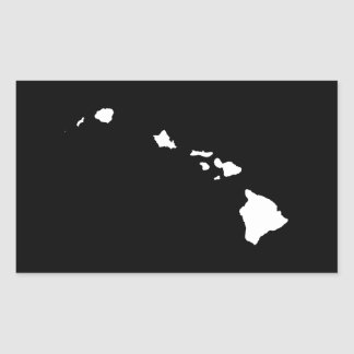 Hawaii in White and Black Rectangular Sticker