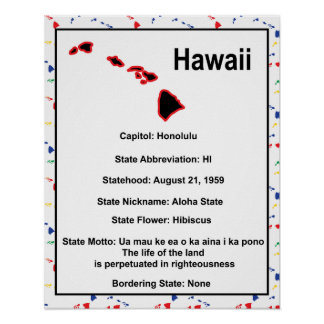 Hawaii Information Educational Poster