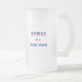Hawaii is a Blue State Frosted Glass Beer Mug