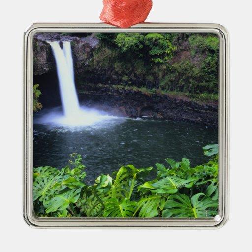 Hawaii, isla grande, Hilo, caídas del arco iris, Adorno Cuadrado Plateado