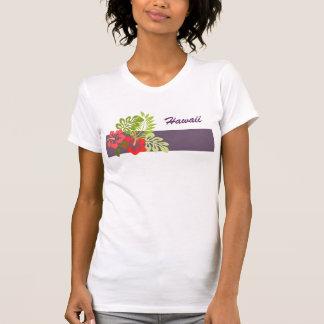 Hawaii Island Red Hibiscus Flowers Custom Word T-Shirt