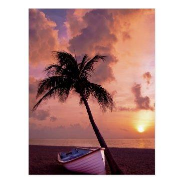 Beach Themed Hawaii Island Travel Beach Sunset Palm Tree Boat Postcard