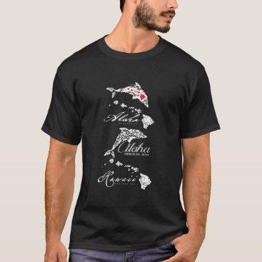 Hawaiian Themed Hawaii Islands and Dolphins T-Shirt