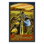 Hawaii Islands - Pineapple Harvest Travel Poster