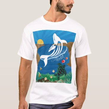 Hawaiian Themed Hawaii Islands Turtle and Whale T-Shirt