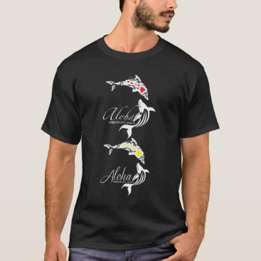 Hawaiian Themed Hawaii Islands Whale and Dolphins T-Shirt