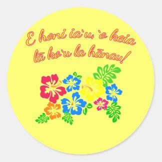 HAWAII Kiss Me It's My Birthday in Hawaiian Classic Round Sticker